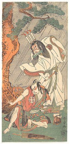 Katsukawa Shunshō (Japanese, 1726–1792). The Actors Ichimura Uzaemon IX in the Role of Ko-kakeyama and O-tani Hiroji III in the Role of Kōga Saburō, ca. 1771. Japan The Metropolitan Museum of Art, New York. Purchase, Joseph Pulitzer Bequest, 1918 (JP437) | The devil Ko-kakeyama (the evil spirit of Wakasa no Zenji Yasumura) holds a scroll in his mouth and a hammer in his hand and wears a crown of three flaming candles on his head. #Halloween
