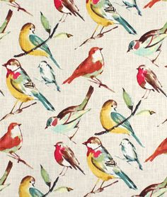 Linen and rayon blend Fabric with colorful birds on it. It's Richloom Birdwatcher Meadow Fabric
