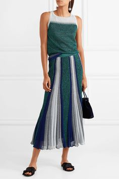 Silver, green and blue stretch-knit Slips on 64% rayon, 36% polyester Dry clean Made in Italy