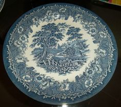 """EIT Ironstone Collectible Dinner Plate 10"""" English England Blue and White Dish"""