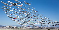 Aviation fan Mike Kelley compiled the departures over the course of a day at the Los Angeles International Airport (LAX) in a single photograph Epic Photos, Cool Photos, Plane Photos, Amazing Photos, Amazing Art, Time Lapse Photo, Photo Avion, Montage Photo, Architectural Photographers