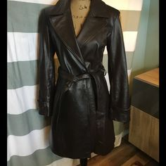 🍒SALE🍒 100% Leather Dark Brown Car Length Coat Excellent condition! Fully lined. Slash pockets. Classic style. Centigrade Leather Jackets & Coats Trench Coats