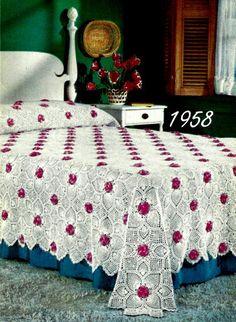 Rose and Pineapple Bedspread Crochet Pattern by Shellbeestreasures, $3.99