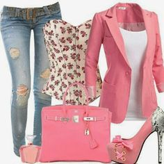 Pink Jacket Handbag and Shoes. Suitable Jeans and Shirt. Adorable Combination, dont think I could wear the heels  or the jeans but they are cute
