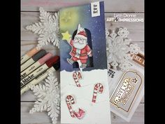 Art Impressions Santa Twister Slimline Card w/ Distress Markers – Pink Whisper Designs