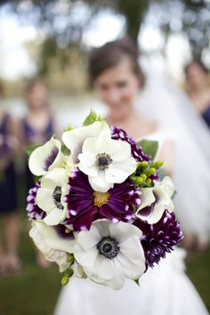 white and purple wedding bouquet #purple #bouquets