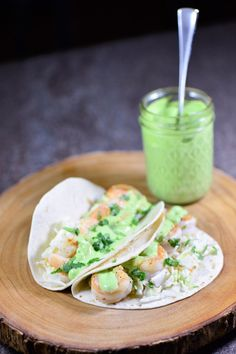 Shrimp Tacos with Cilantro-Lime Sauce- prepped and cooked in under 30 minutes.