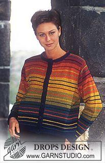 DROPS jakke i Silke-tweed med brede og smale striper ~ DROPS Design