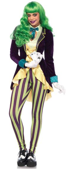 Mens Joker Wig Green Slick Trickster Halloween Clown Fancy Dress Accessory