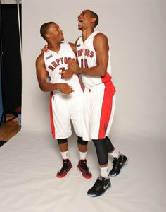 All business on court, the #Raptors starting backcourt of Kyle Lowry and DeMar DeRozan share a laugh on Media Day.