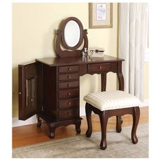 Classic Boise Cherry Brown Wood makeup Vanity desk Set Bench mirror