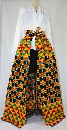 Be a Star and Sparkle African Print kente Skirt Women's Maxi Front Open Faux Wrap Africa Print Dress Dashiki Dress Vintage Women's, African Dress Patterns, African Print Dresses, African Fashion Dresses, African Attire, African Wear, African Fabric, African Print Skirt, African Dashiki, African Inspired Fashion