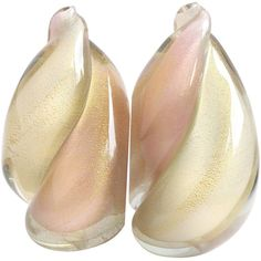 Alfredo Barbini Murano Pink, White, Gold Flame Italian Art Glass Bookends | From a unique collection of antique and modern bookends at https://www.1stdibs.com/furniture/more-furniture-collectibles/bookends/