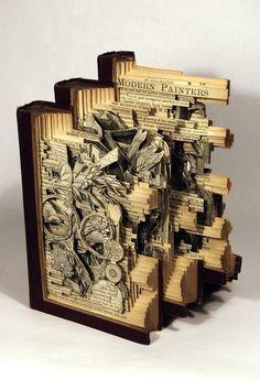 """book sculptures___ATL Artist Brian Dettmer's """"Elemental"""" Exhibit Opens at MOCA-GA  Dettmer's intricate book sculptures"""