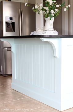 Kitchen Island Makeover with Beadboard Kitchen Remodel Ideas Beadboard Island Ki. - Kitchen Island Makeover with Beadboard Kitchen Remodel Ideas Beadboard Island Kitchen Makeover Kit - Kitchen Island Makeover, Diy Kitchen Island, New Kitchen Cabinets, Kitchen Redo, Kitchen Design, Kitchen Ideas, Painted Kitchen Island, Kitchen Countertops, Kitchen Sinks