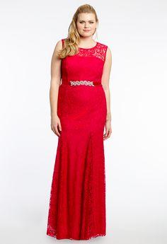 Plus Size Illusion Neck Lace Dress #camillelavie #CLVprom