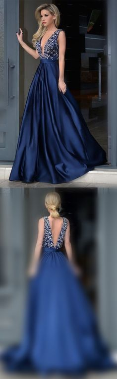 A line Sexy Deep V-neckline Navy Blue Prom Dress