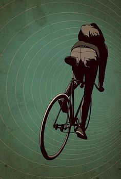 Adams Carvalho is obviously much on  fixed-gear bikes  - why else would he an entire Tumblr full bang with these great illustrations?    A fixed-gear bicycle (or fixed-wheel bicycle, sometimes known as a fixie) is a bicycle that has no freewheel, meaning it can not coast, as the pedals are always in motion when the bicycle is moving. ( Wikipedia )