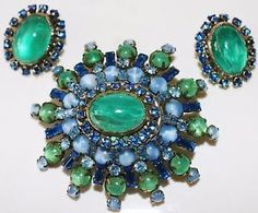 VINTAGE SCHREINER SIGNED RAREST BLUE GREEN ART GLASS CABOCHON EARRING BROOCH SET | eBay