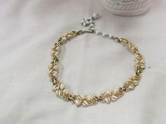 Vintage Coro Enameled Necklace White Leaves Gold Plated by KansasKardsStudio on Etsy