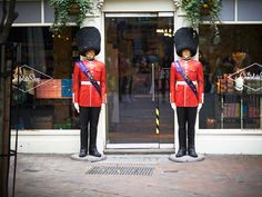 From London With Love: Buckingham Palace guard statues in front of the Liberty Shop on Regent Street