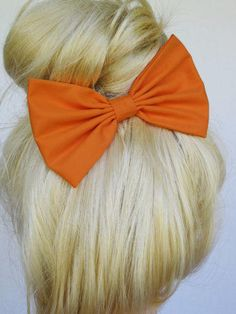Hair Bow Clip Orange women's hair accessories cheer gifts under 10 gifts for her