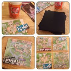 Use Of Those Disney Park Maps With These Easy To Make Coasters! Disney DIY - Make Use of Those Disney Park Maps with These Easy to Make Coasters! Disney Parks, Disney Park Maps, Disney Souvenirs, Disney Fun, Disney Vacations, Walt Disney, Disney Tips, Disney Cruise, Disney Style