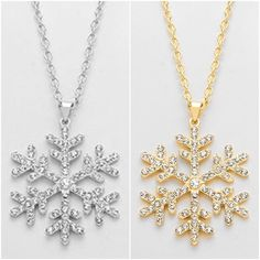 Snow flake necklaces ! Holiday jewelry, Christmas jewelry https://www.etsy.com/listing/256159927/best-selling-jewelry-crystal-snowflake