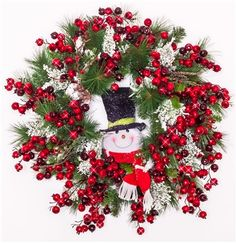 Frosty is back again! With this wreath you can keep Frosty around all season. Beautiful berries surround this wreath, while subtle flocked greenery capture the feeling of winter. Use indoor or outdoor, perfect for a front door or mantel. $179