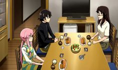 e06: Knowing from her diary that Yuki's mother, Rea Amano, is coming home from work abroad as a video game programmer, Yuno breaks into his house with the intention of introducing herself to Rea