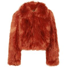 Maison Margiela Faux fur jacket (7.535 RON) ❤ liked on Polyvore featuring outerwear, jackets, coats, houndstooth jacket, faux fur collar jacket, red faux fur jacket, fake fur jacket and tailored jacket