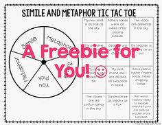 Simile and Metaphor Tic Tac Toe! Let your students have fun while mastering similes and metaphors! Reading Lessons, Reading Skills, Teaching Reading, Teaching Ideas, Student Teaching, Guided Reading, Math Lessons, Learning, Reading Resources