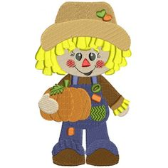 Cute Scarecrow Boy with a pumpkin Filled Machine Embroidery Digitized Design Pattern #thanksgiving #embdoidery #appliques #pumpkin