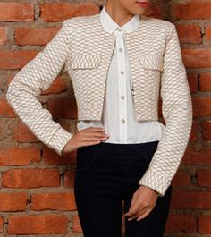 Cream Cropped Jute Jacket