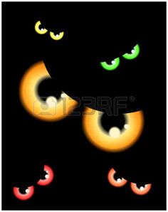 Image of Happy Halloween spooky background Flat design. Vector illustration of invitation card with scary bloody eyes, eyeballs