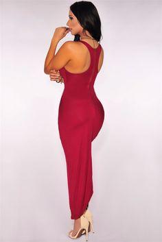 Chic Burgundy Knotted Front Slit And Asymmetric Hem Dress Cheap Dresses, Dresses For Work, Summer Dresses, Lover Dress, Chic Couture Online, Dress Vestidos, Slit Dress, Dress Lace, Club Dresses