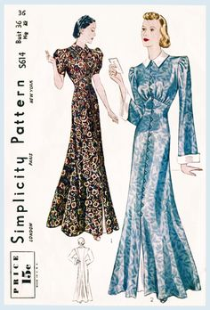 1930s 30s women's vintage gown evening length frock house coat Medium bust 36 b36 Simplicity S614 repro by LadyMarloweStudios on Etsy https://www.etsy.com/au/listing/227288196/1930s-30s-womens-vintage-gown-evening