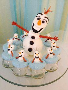 Boneco em porcelana fria Olaf, frascos para doces, festa infantil, meninas, Frozen, Candy Bar.