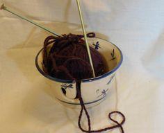 Ceramic Yarn Holder Bowl  Pottery knitting bowl Handmade Hand painted in Dragonfly design 012120