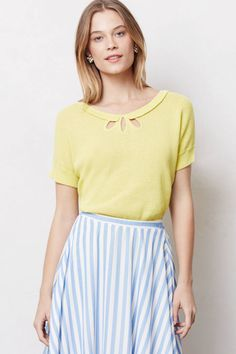 Anthropologie Moth Addie Sweater Tee Yellow Keyhole Ruffle Linen Blend L #Anthropologie #Keyhole