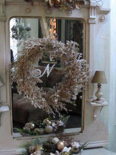 Spray Snow Monogram on mirror. Very simple and classic!