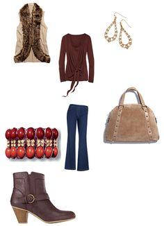 Cushion Walk® Casual Chic Bootie, mark Style Faux Sure Sweater Vest, mark Style Goddess Bracelet, Slim Wear Boot-Cut Jeans, Front Tie Drape Top in Misses,  Openwork Teardrop Earrings, mark Taupe of the Line Bag