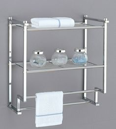 A.M.B. Furniture & Design :: Bathroom Accessories :: Bathroom shelves :: 2 tier wall mounted chrome finish metal shelf with towel bars