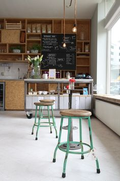BOTERHAM AMSTERDAM - Industrial furniture and lightening + pastel mint color