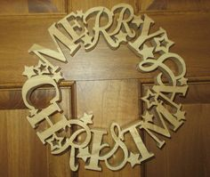 Christmas Wreath Door Decoration made from Poplar Hardwood by