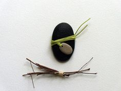river rock paperweight  accessory green twine by RedorGrayArt, $12.00