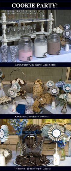 Love love love this idea! From simplysogood.blogspot.com   If you don't bake, buy packaged or bakery goods. The party possibilities are endless! Showers,birthdays,just for fun get-togethers. Everyone loves milk and cookies, you can't go wrong.