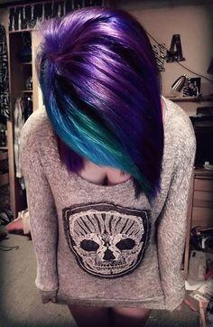 Purple w/Teal Bangs