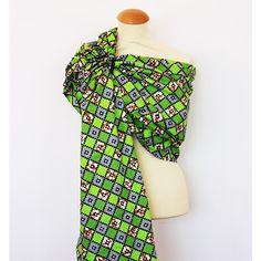 Bandolera de anillas artesanal Granujas de paño africano - geométrico verde