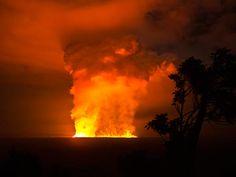 Nyamulagira volcano, part of the Virunga Volcanoes chain of eight, erupting in the Congo, Africa